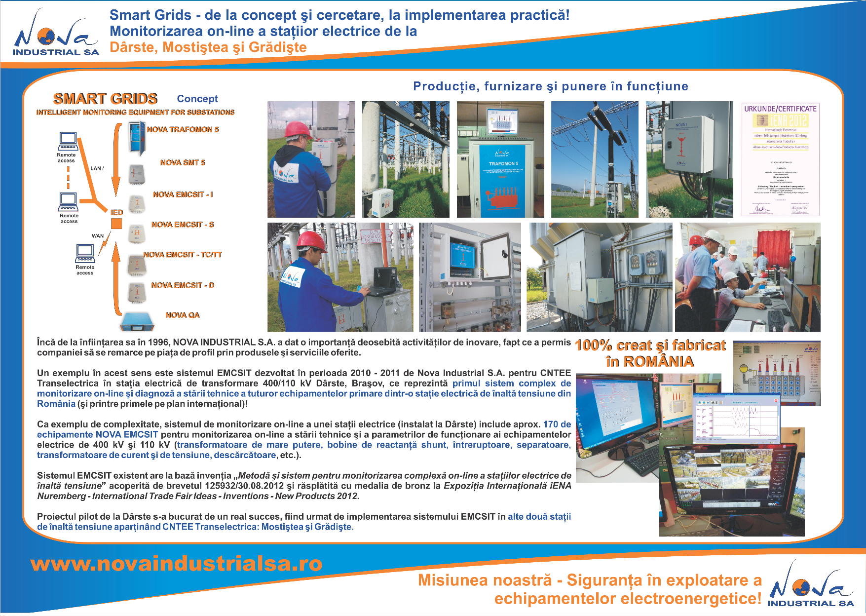 Monitorizarea on-line a trei statii electrice apartinand CNTEE Transelectrica!