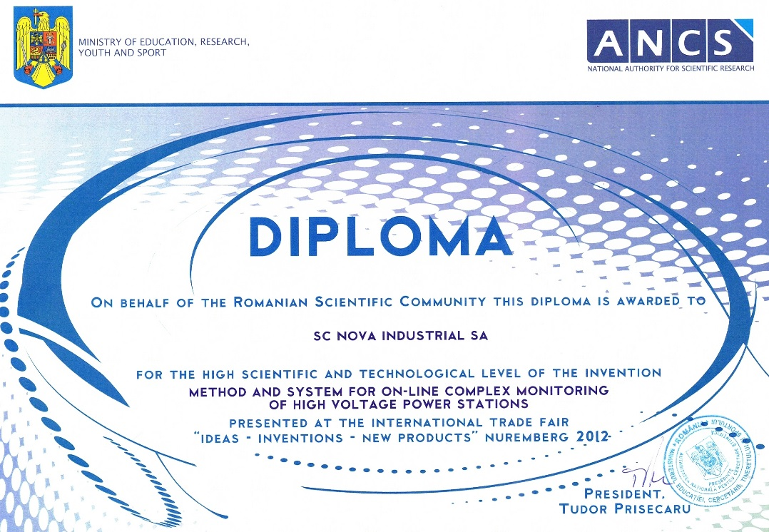 Diploma for the high scientific and technological level of the invention